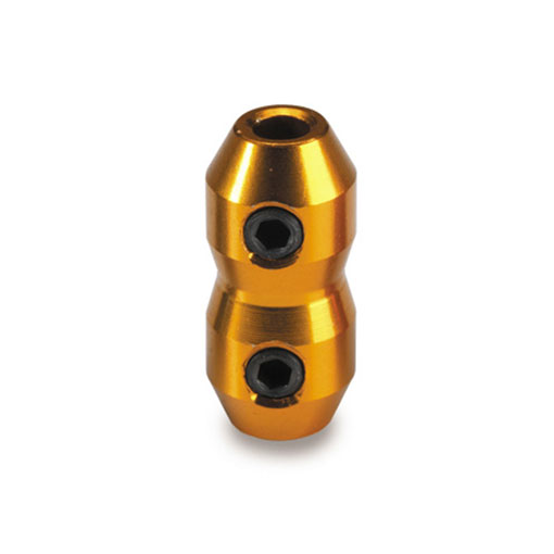 Cable Clamp Anodised - Gold with Grub Screws
