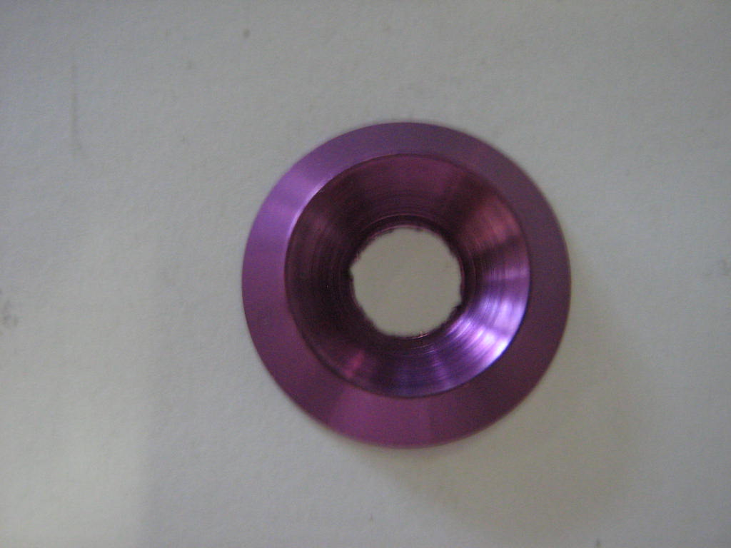 ALUMINIUM COUNTERSUNK WASHER 18 x 6mm, PURPLE ANODIZED