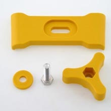 BRACKET FOR K855 PETROL TANK COMPLETE WITH KNOB IN YELLOW COLOUR