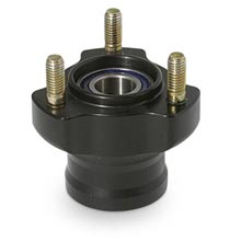 L.50mm ALUMINIUM FRONT HUB, BLACK ANODIZED COMPLETE WITH BEARIN