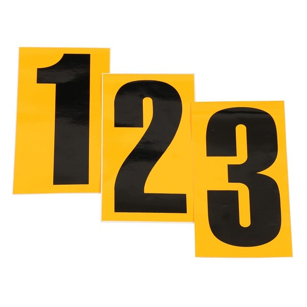 Black Number 9 Sticker, Yellow Background