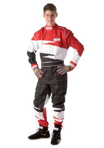 Kart Suit - Cordura, Red, White and Black